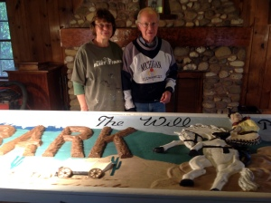 Colonels Dahl restore historical Will Rogers sign at Camp Wonderland.
